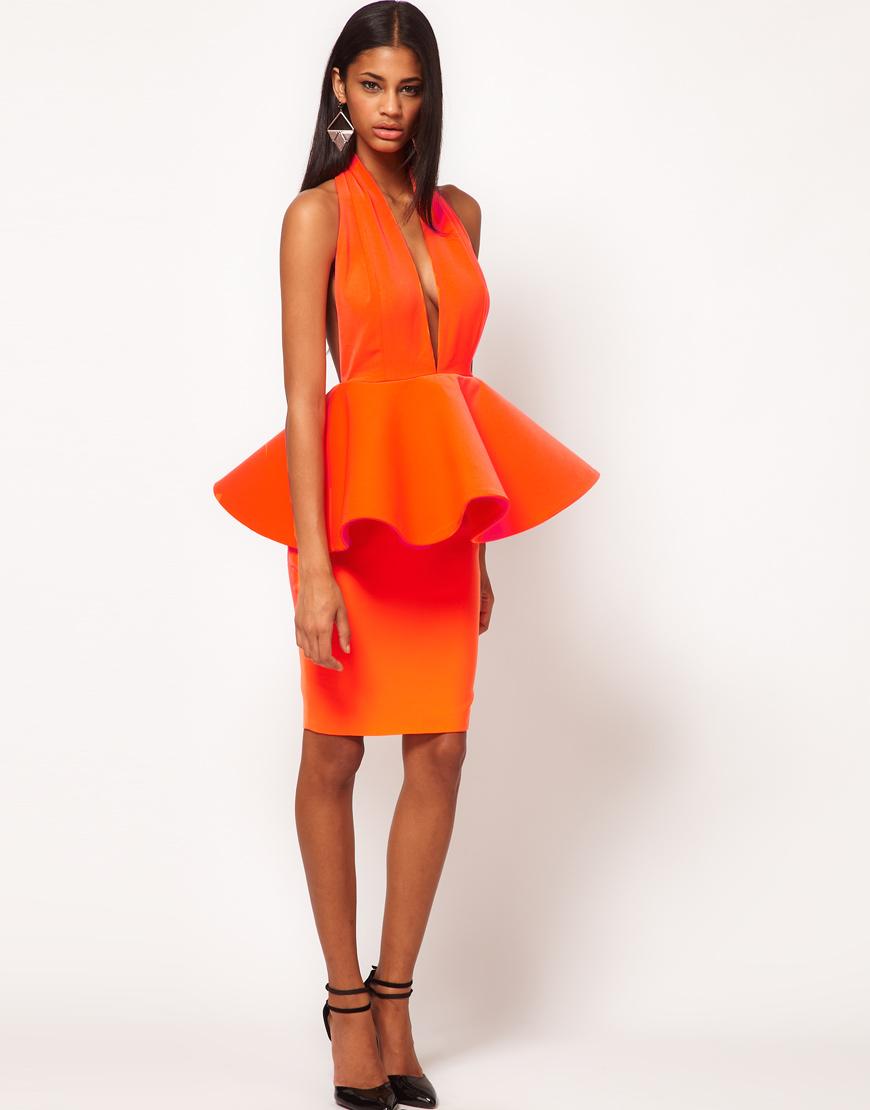 Aqua Louise Halterneck Peplum dress
