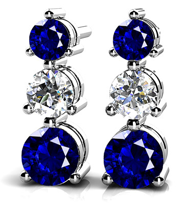 anjolee  three  prong gemstone and diamond earrings
