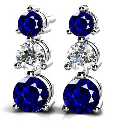 anjolee  three  prong gemstone and diamond earrings