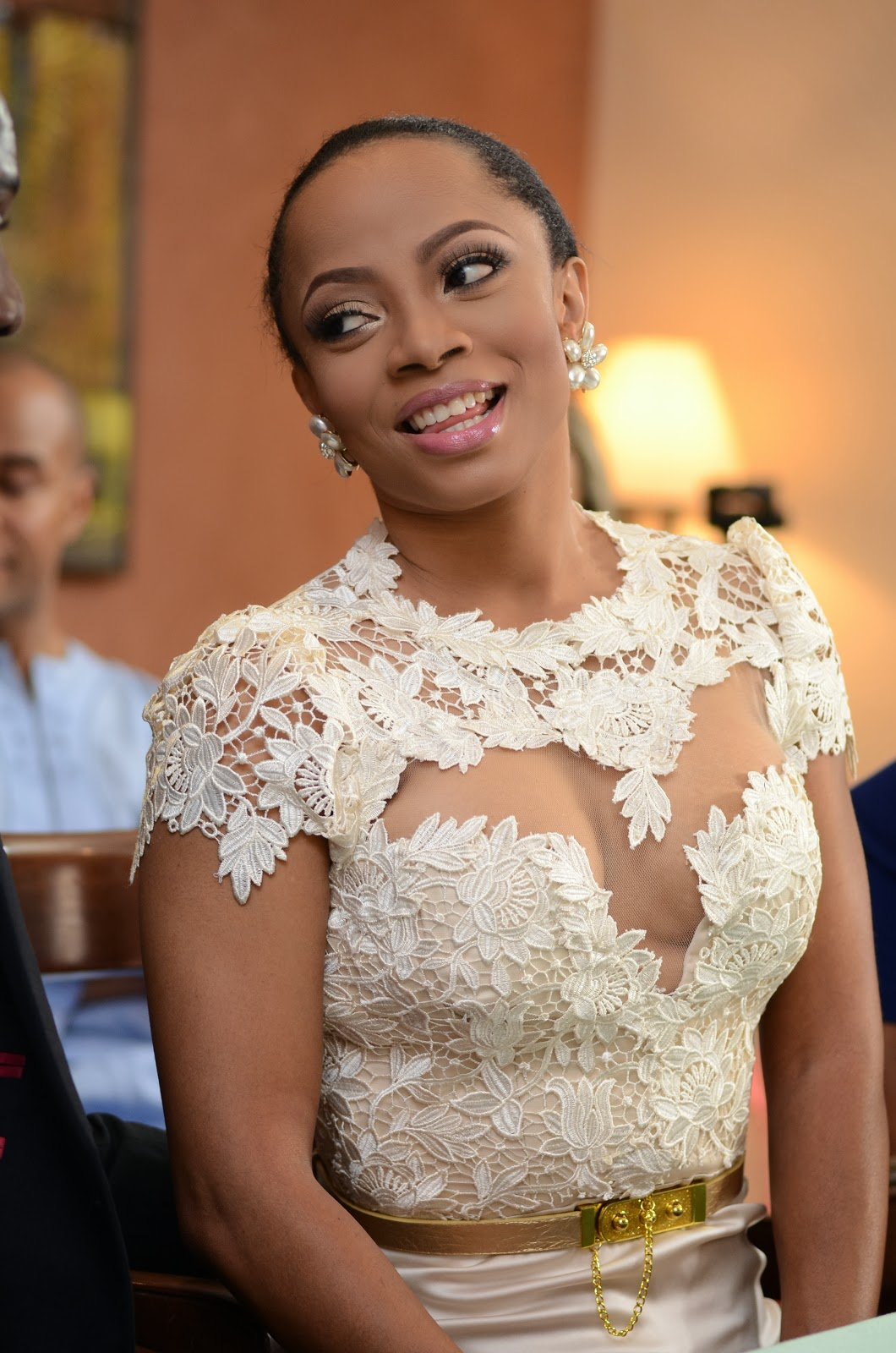 toke makinwa wedding lace white dress