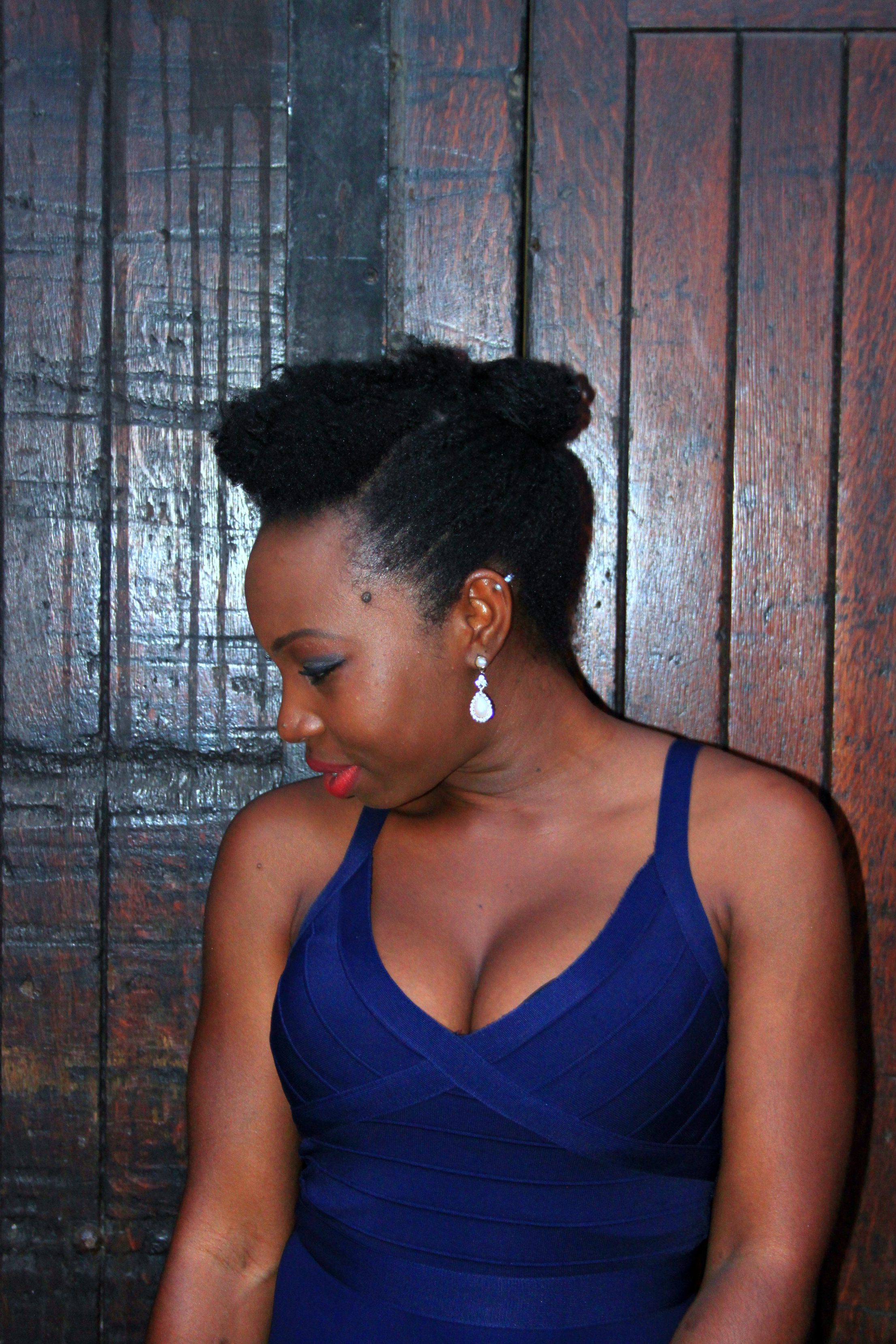 lipsy blue cleavage dress natural hair styles