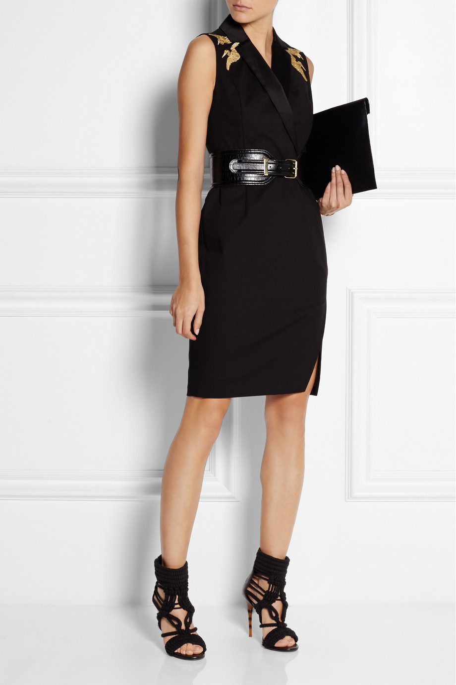 Embroidered cotton-blend twill dress,  £50