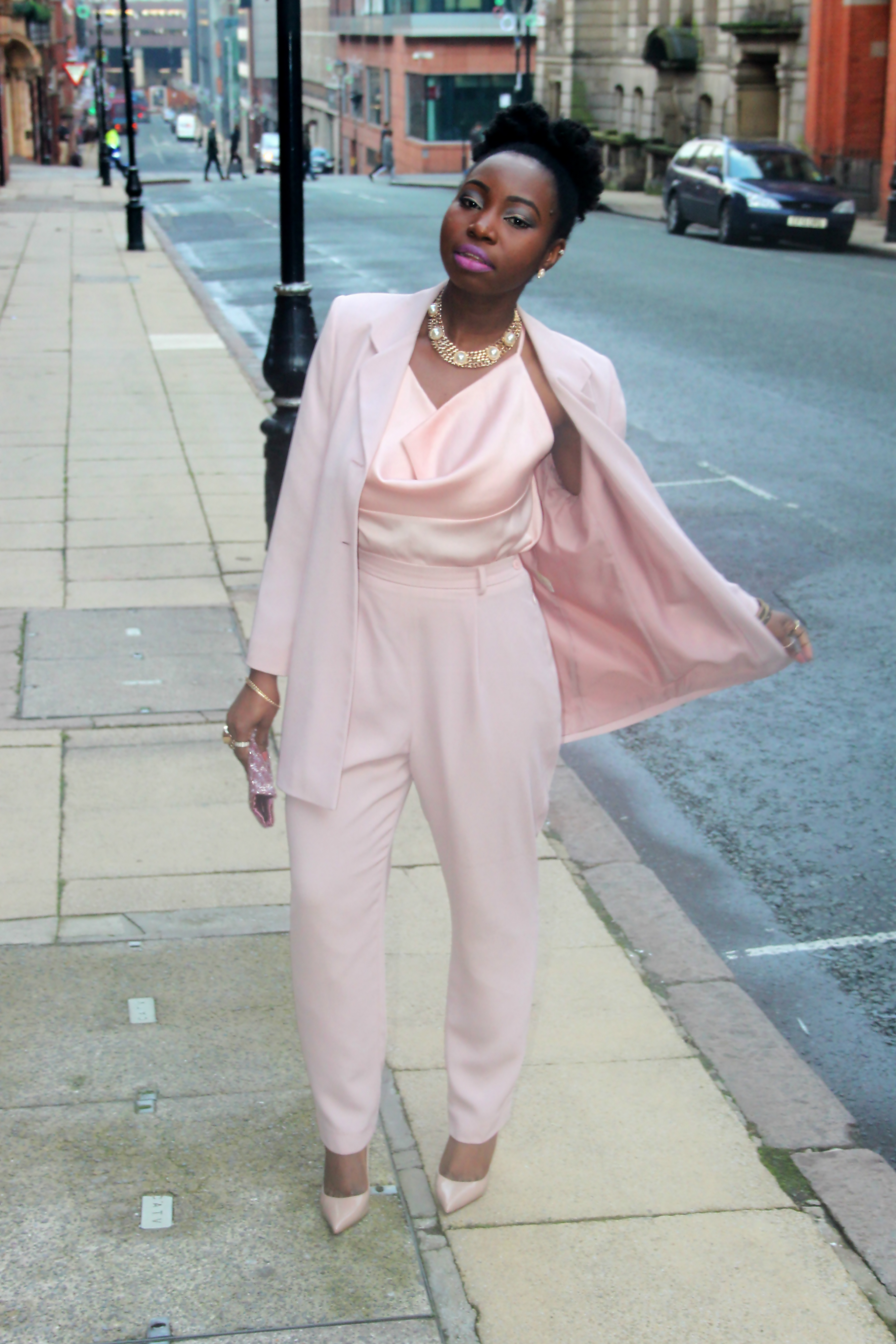 blush pink nude trouser suit  18 b