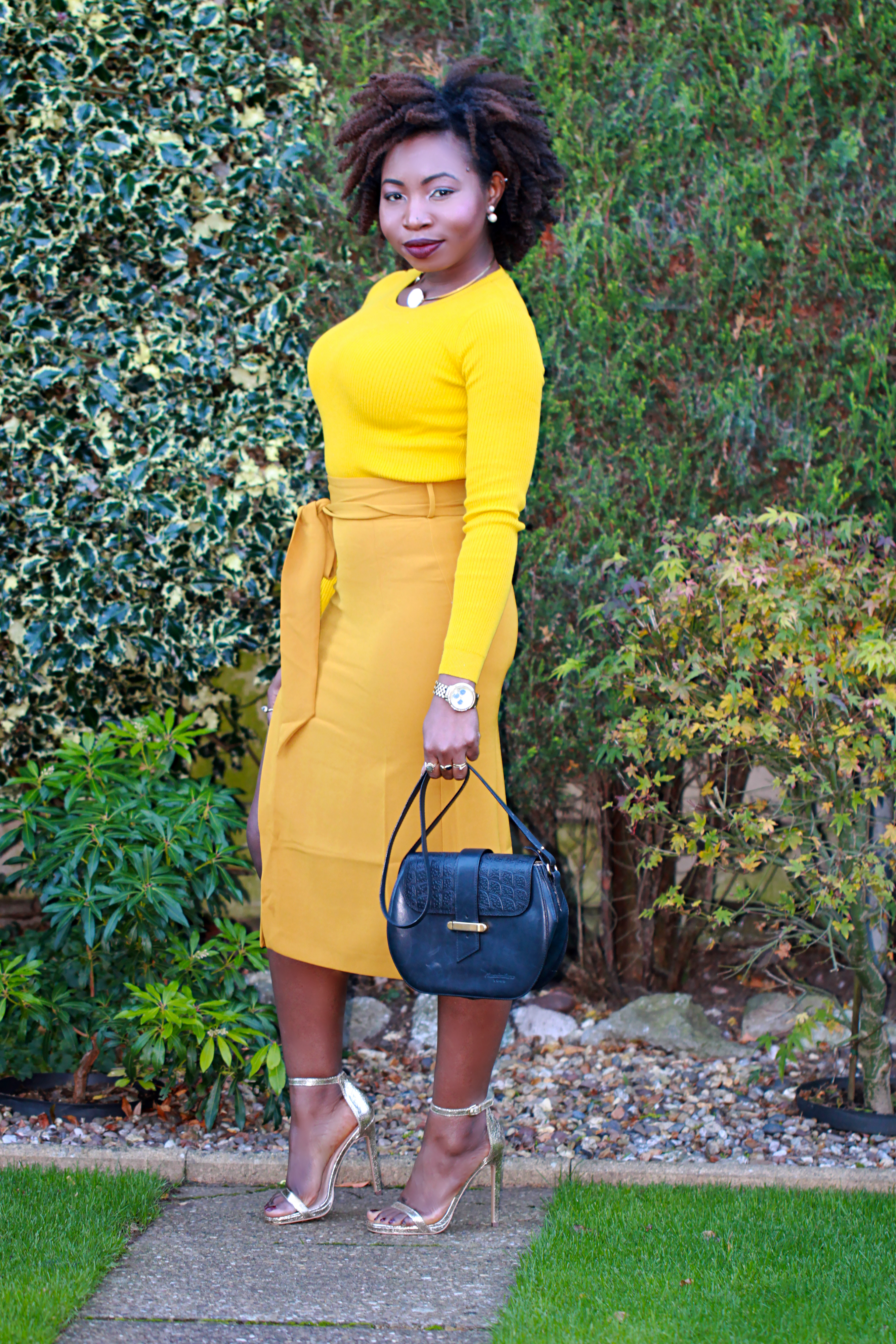 mustard asos outfit a