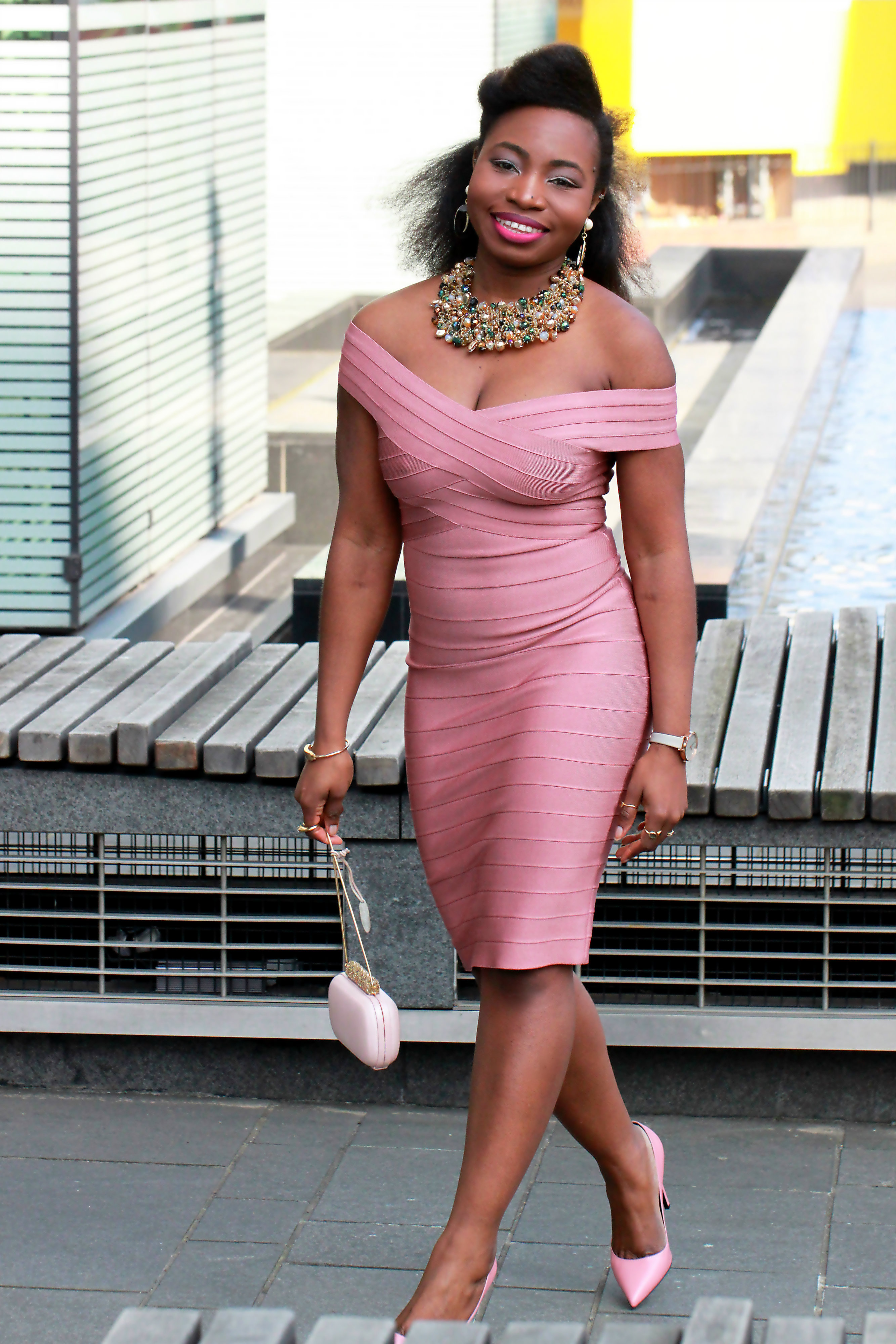 bandage dress pink melanin a