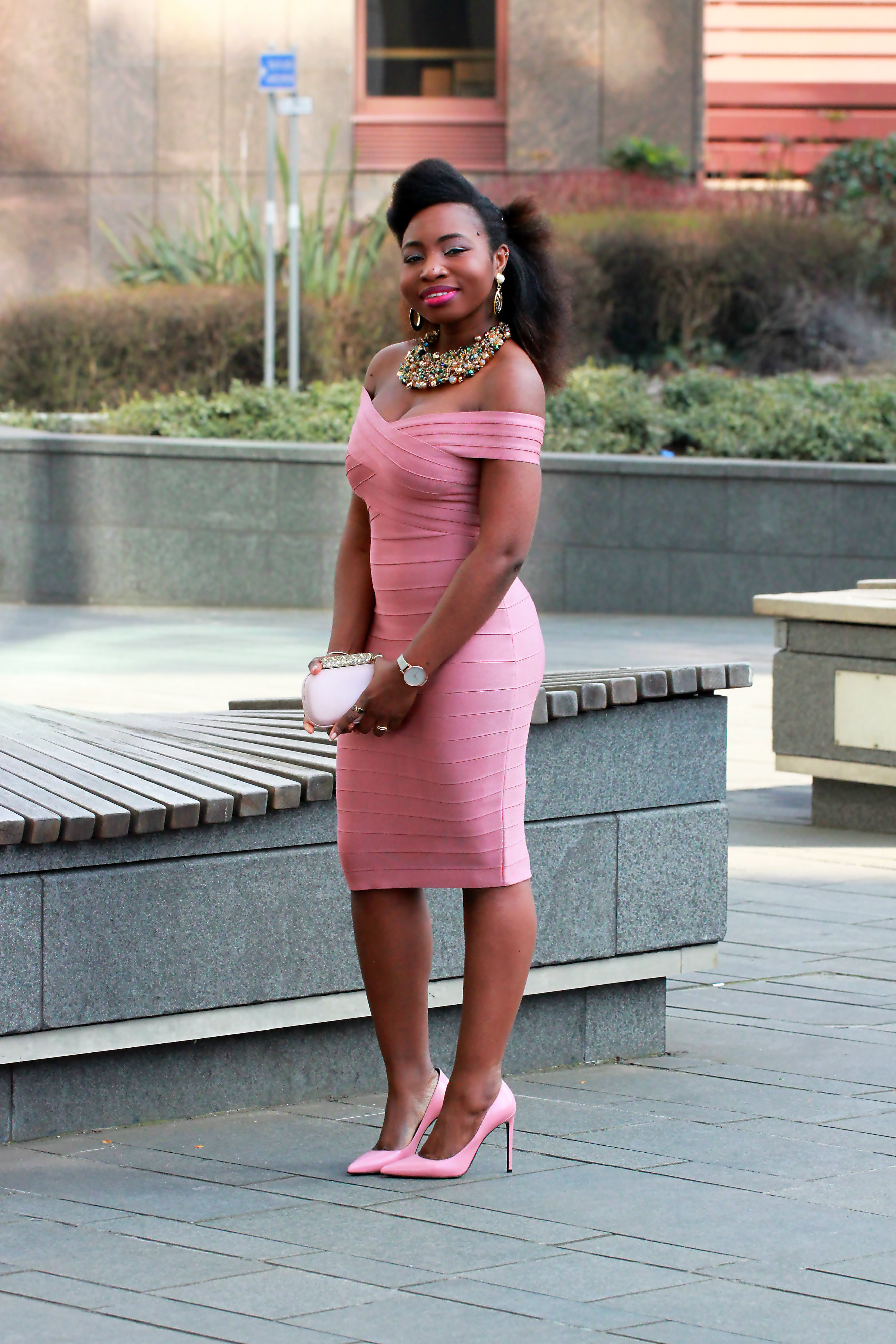 bandage kewl shop dust pink dress a