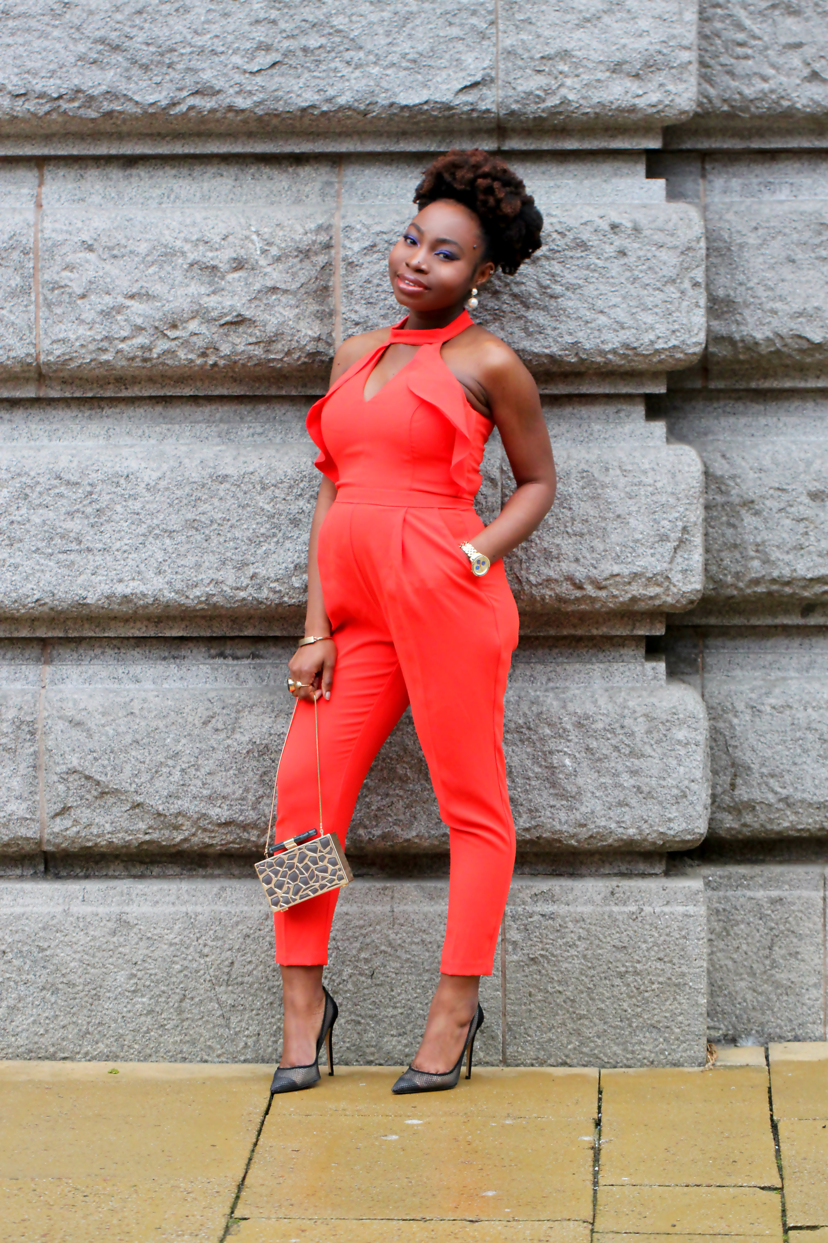 orange frill jumpsuit river island very a