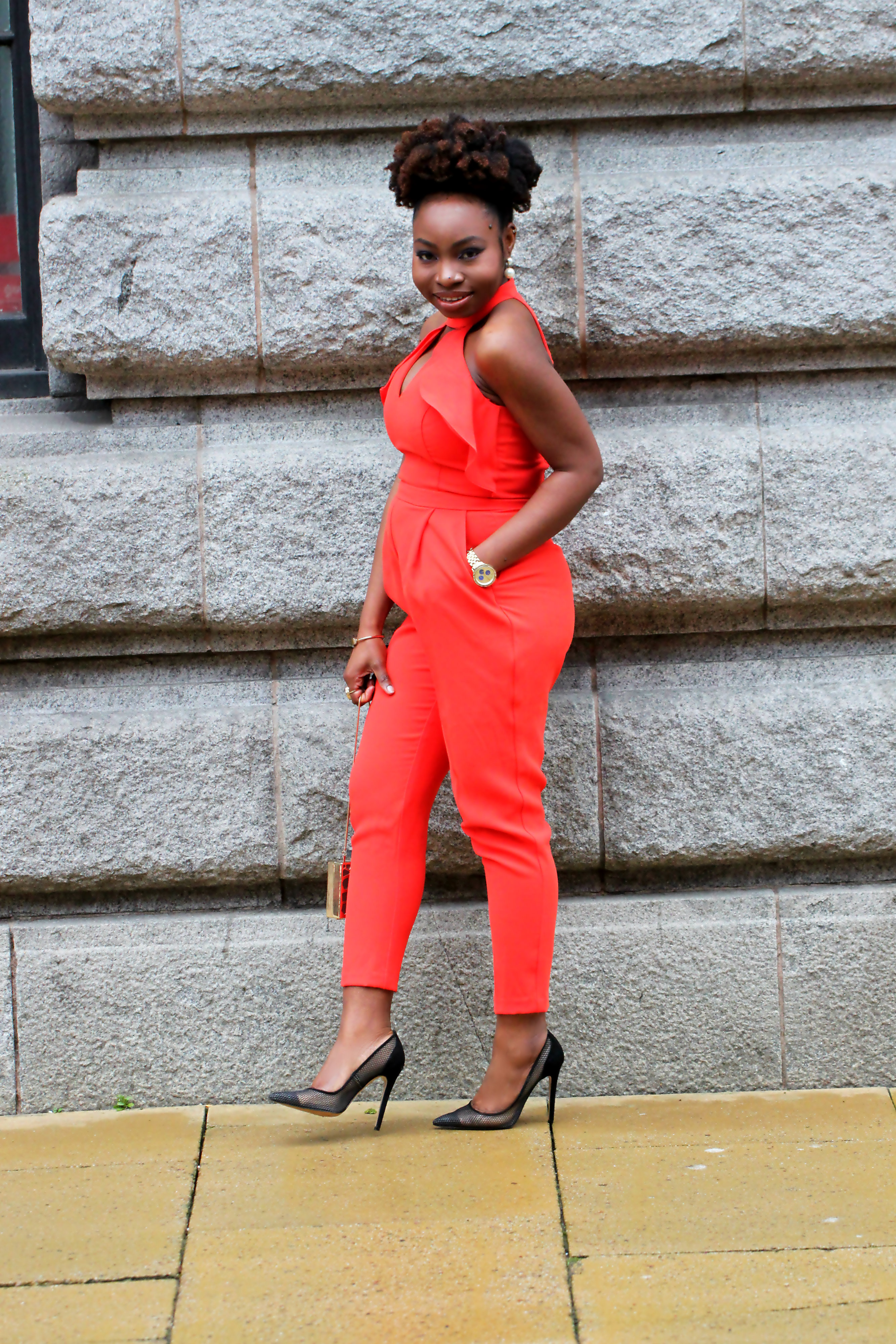 orange red jumpsuit river island office mesh heels a