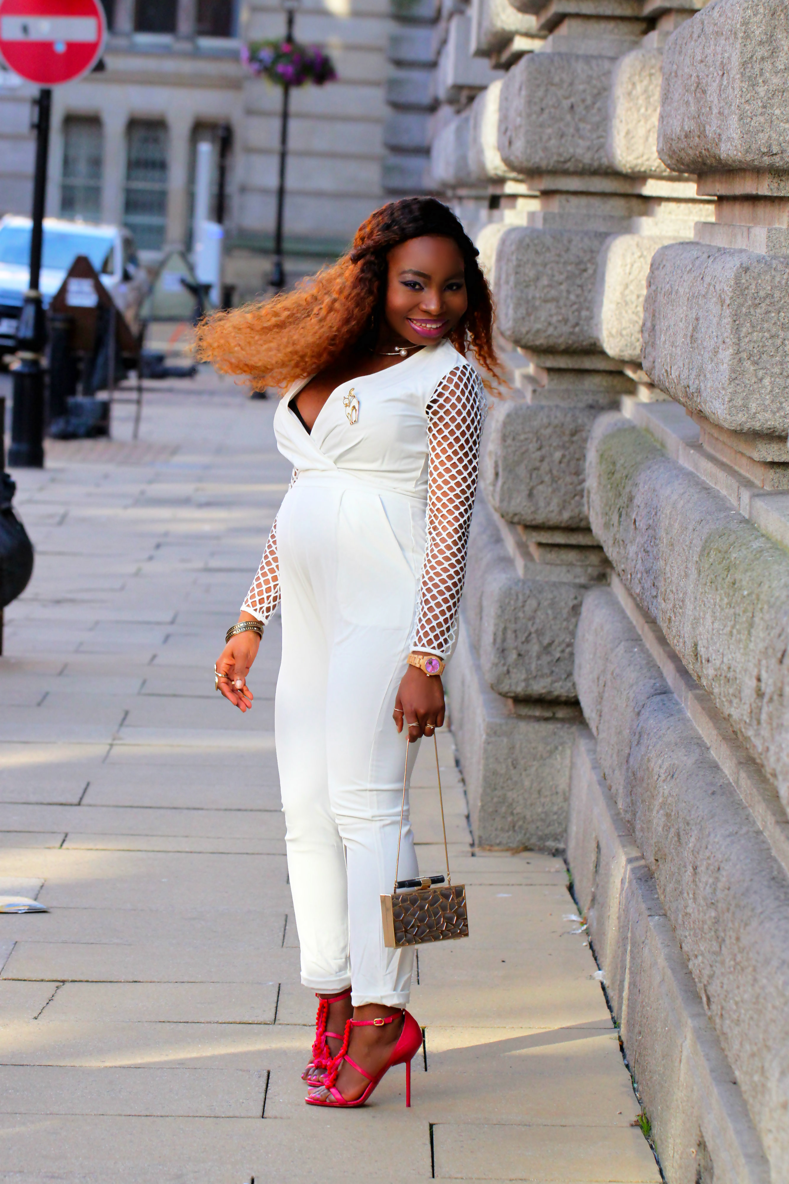 white mesh blogger outfit style kurt geiger a